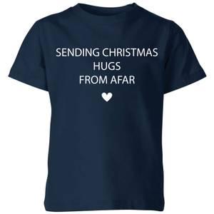 Sending Christmas Hugs From Afar Kids' T-Shirt - Navy
