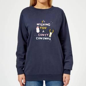 Wishing You A Cunty Christmas Women's Sweatshirt - Navy