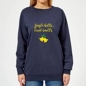 Jingle Bells Covid Smells Women's Sweatshirt - Navy