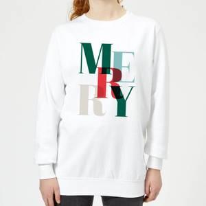 Graphic Merry Women's Sweatshirt - White