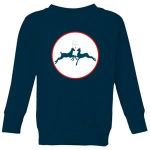 Reindeer Kisses Kids' Sweatshirt - Navy