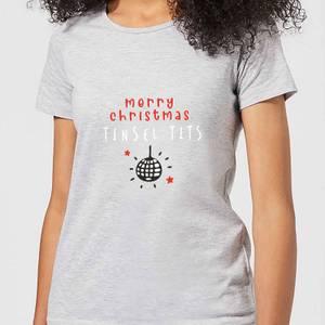 Disco Merry Christmas Tinsel Tits Women's T-Shirt - Grey