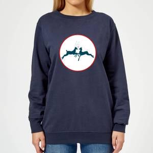 Reindeer Kisses Women's Sweatshirt - Navy