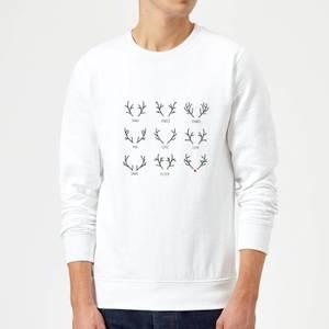 Graphical Santas Reindeers Sweatshirt - White