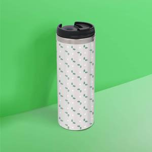 Mistletoe Pattern Stainless Steel Thermo Travel Mug - Metallic Finish