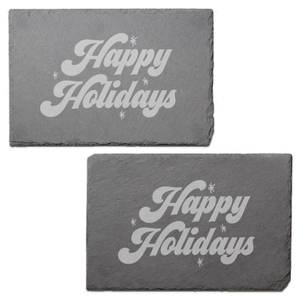 Happy Holidays Engraved Slate Placemat - Set of 2
