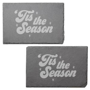 Tis The Season Engraved Slate Placemat - Set of 2