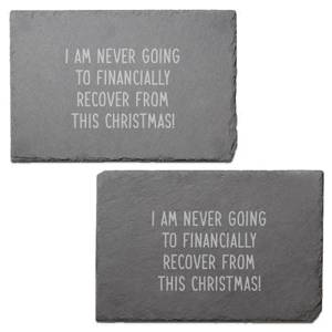 Broke Christmas Engraved Slate Placemat - Set of 2