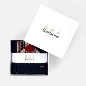 Barbour Men's Fairisle Beanie and Scarf Gift Set - Navy/Red/Ecru