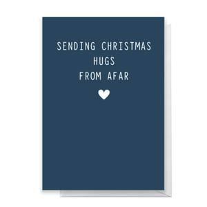 Sending Christmas Hugs From Afar Greetings Card