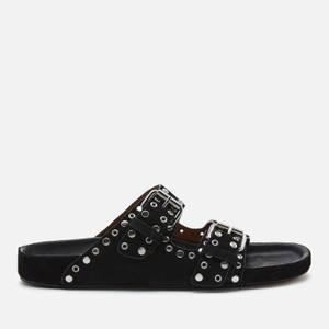 Isabel Marant Women's Lennyo Suede Double Strap Sandals - Black