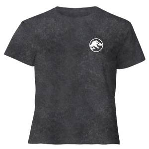 Jurassic Park Primal Limited Variant Ranger Logo - Women's Cropped T-Shirt - Black Acid Wash
