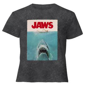 Jaws Classic Poster - Women's Cropped T-Shirt - Black Acid Wash