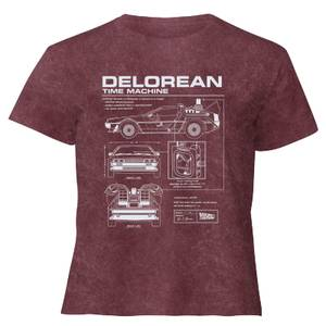 Back To The Future Delorean - Women's Cropped T-Shirt - Burgundy Acid Wash