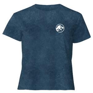 Jurassic Park Primal Limited Variant Ranger Logo - Women's Cropped T-Shirt - Navy Acid Wash