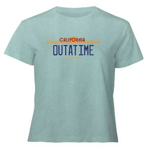 Back To The Future Outatime Plate - Women's Cropped T-Shirt - Mint Acid Wash