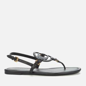 Coach Women's Jeri Leather Toe Post Sandals - Black