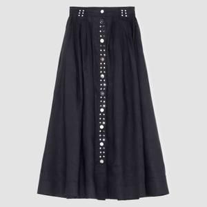 Ganni Women's Light Linen Midi Skirt - Phanthom