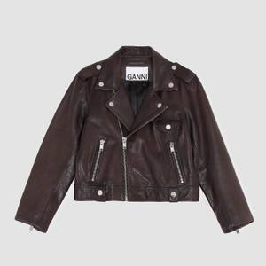 Ganni Women's Light Grain Leather Jacket - Chicory Coffee