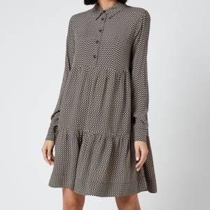 Ganni Women's Printed Crepe Shirt Dress - Tannin