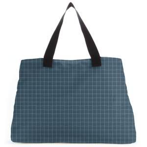 Blue Check Large Tote Bag