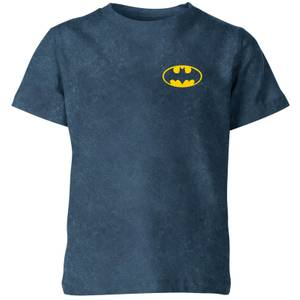 Batman Pocket Logo Kids' T-Shirt - Navy Acid Wash