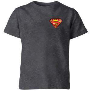 Superman Logo Kids' T-Shirt - Black Acid Wash