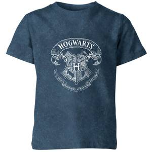 Harry Potter Hogwarts Crest Kids' T-Shirt - Navy Acid Wash