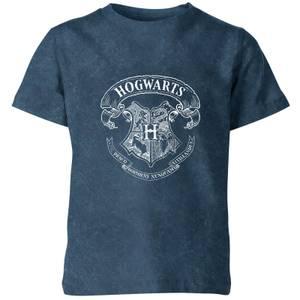 Harry Potter Hogwarts Crest Kids' T-Shirt - Navy Acid Wash