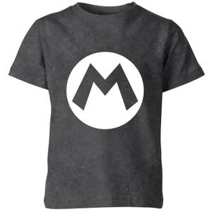 Nintendo Super Mario Logo Kids' T-Shirt - Black Acid Wash