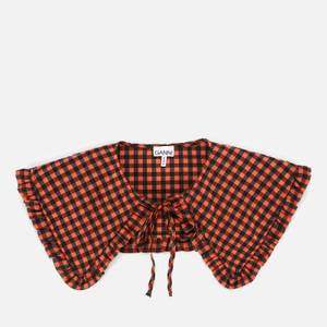 Ganni Women's Seersucker Check Collar - Flame