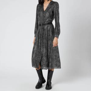 MICHAEL Michael Kors Women's Galaxy Midi Shirt Dress - Black/Silver