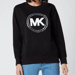 MICHAEL Michael Kors Women's HT Chain MK Logo Sweatshirt - Black/Silver