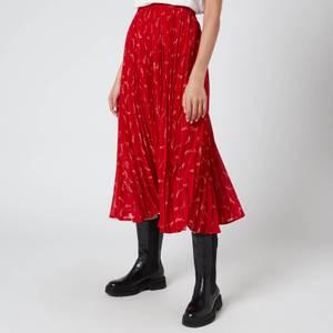 MICHAEL Michael Kors Women's Signature Logo Pleated Skirt - Crimson