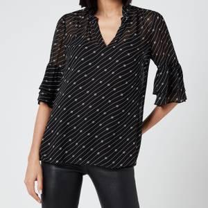 MICHAEL Michael Kors Women's Circle Logo Bell Sleeve Top - Black/White