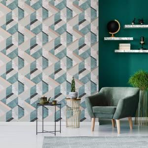 Fresco Jade/Rose Gold Marblesque Geometric Metallic Wallpaper