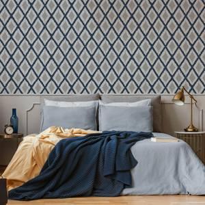 Freso Blue/White Ikat Geometric Weave Wallpaper
