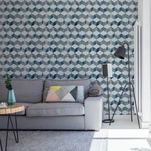 Fresco Blue Maya Geometric Wallpaper