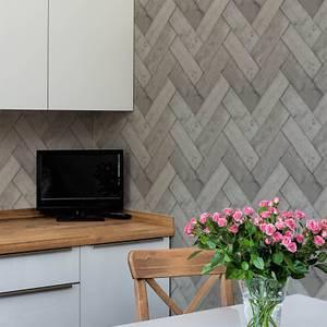 Superfresco Easy Brown/Grey Fishgrass Wooden Geometric Wallpaper