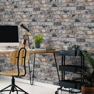 Fresco Navy/Red Industrial Distressed Brick Wallpaper