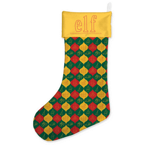 Elf Baubles Pattern Christmas Stocking