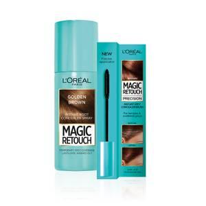 L'Oréal Paris Magic Retouch Golden Brown 75ml & Precision Instant Grey Concealer Brush Set