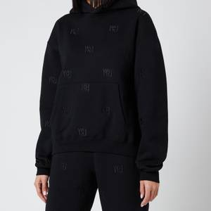 Alexander Wang Women's Long Sleeve Hoodie with Allover Embroidery - Black