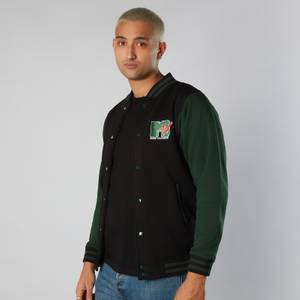 MTV Logo Unisex Varsity Jacket - Black / Green