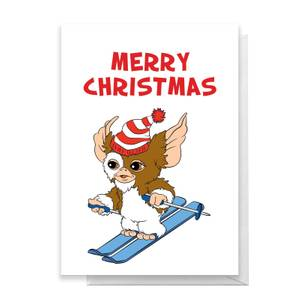 Gremlins Merry Christmas Skiing Greetings Card