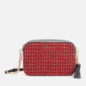 MICHAEL Michael Kors Women's Jet Set Checkered Tweed Medium Camera Bag - Bright Red