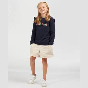 Barbour Girls' Otterburn Frill Overlayer Sweatshirt - Navy
