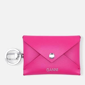 Ganni Women's Leather Key Chain/Envelope Cardholder - Shocking Pink