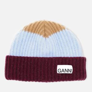 Ganni Women's Block Colour Knitted Recycled Wool Beanie - Block