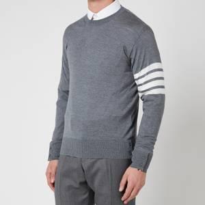 Thom Browne Men's Four-Bar White Stripe Classic Crewneck Jumper - Medium Grey